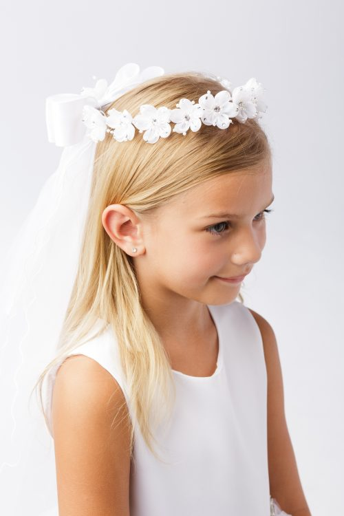 Wreath First Communion Veil Organza Flowers with Crystal Accents and Leaves
