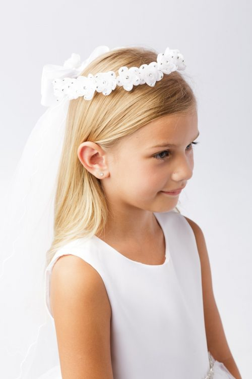 Wreath First Communion Veil Organza Flowers with Crystal Accents