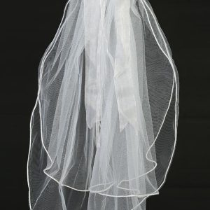 First Communion Wreath Veil Crystals and Satin Bow