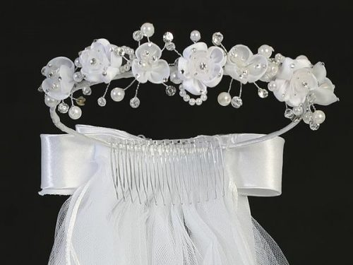 Wreath First Communion Veil Organza Flowers and Rhinestones