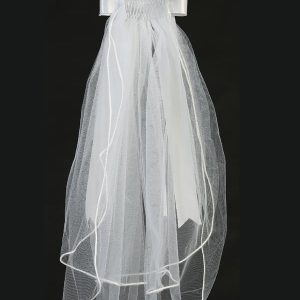 First Communion Wreath Veil with Organza Flowers and Satin Bow