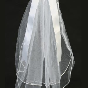 First Communion Wreath Veil with Rhinestones and Bow