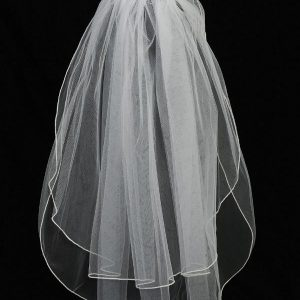 First Holy Communion Comb Veil with Organza Flowers and Crystals