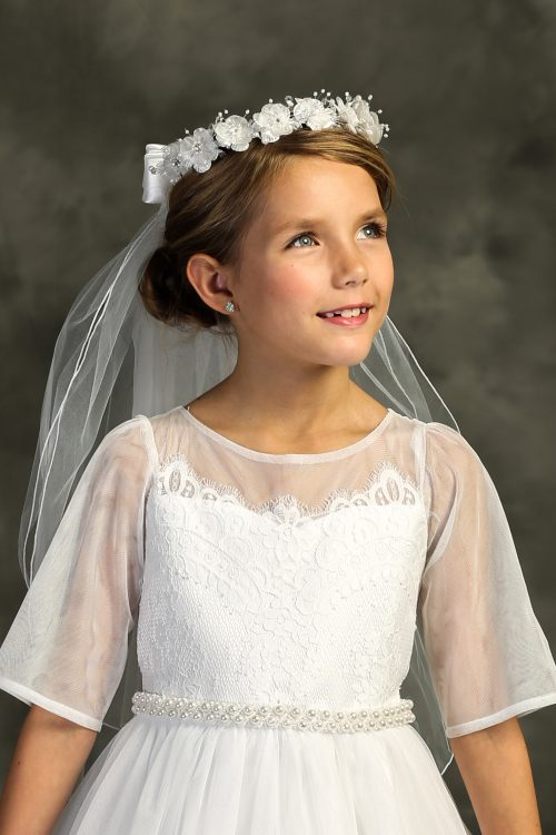 First Holy Communion Veil Flower Crown