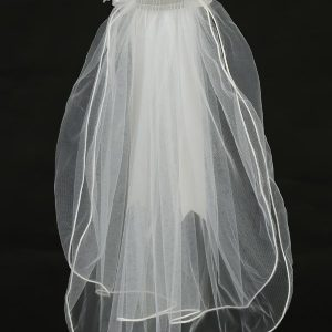 First Holy Communion Veil Headpiece Organza and crystal flower