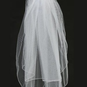 First Holy Communion Veil with Organza Flowers Pearls and Crystals
