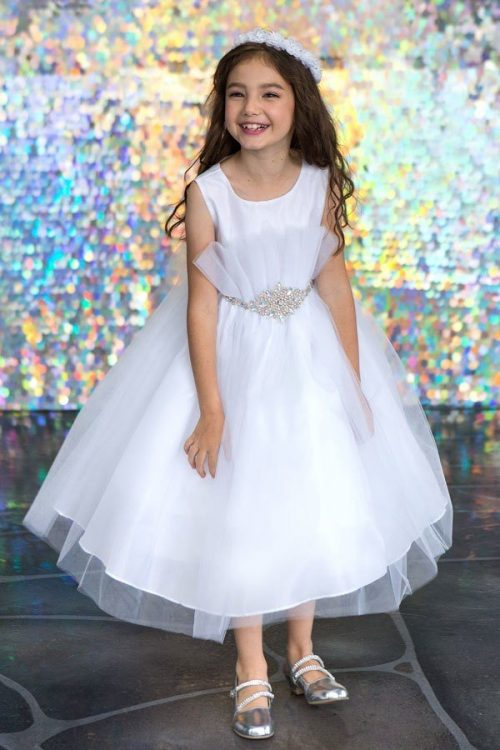 First Communion Dress features Pleated Flared top