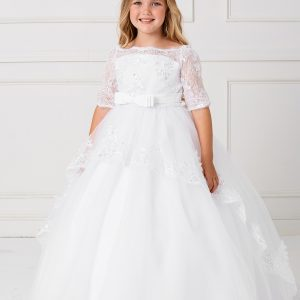 Floor Length First Communion Dress with Lace Sleeves