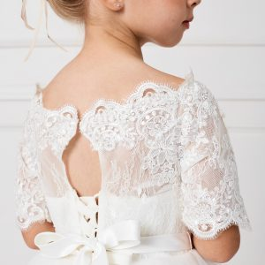 Floor Length First Communion Dress with Lace Sleeves Back Top