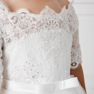 Floor Length First Communion Dress with Lace Sleeves Bodice Close