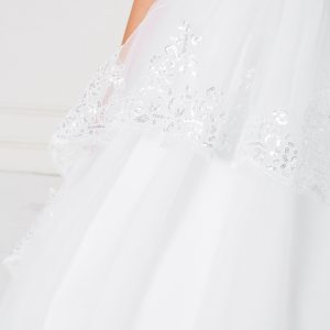 Floor Length First Communion Dress with Lace Sleeves Close