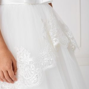Floor Length First Communion Dress with Lace Sleeves Satin Bow