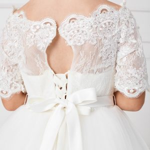 Floor Length First Communion Dress with Lace Sleeves Satin Tie Back