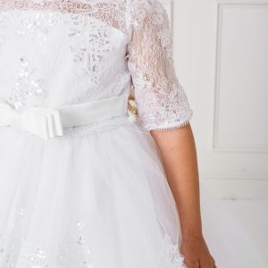 Floor Length First Communion Dress with Lace Sleeves Top