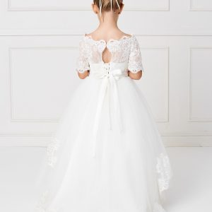Floor Length White First Communion Dress with Lace Sleeves Back