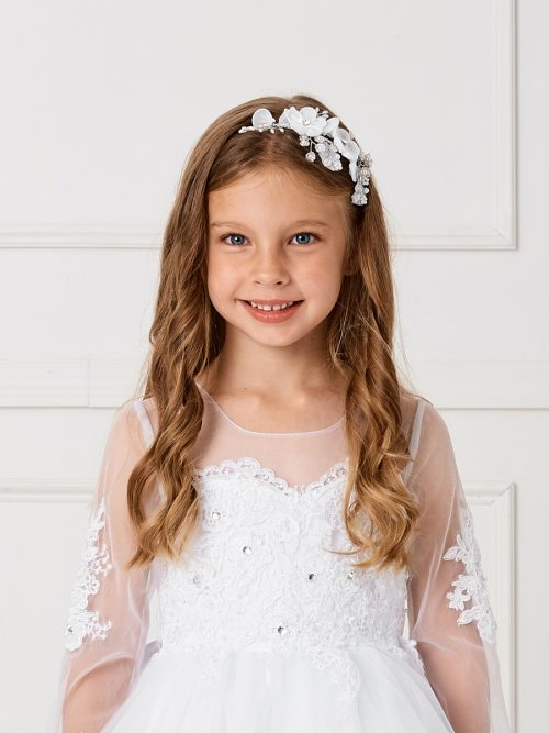 First Communion Headband with Pearls and Crystals