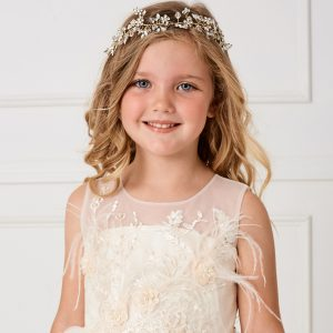 Floral Gold First Communion Spray Hairband