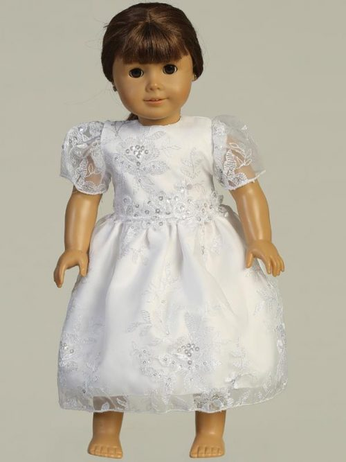 Embroidered organza with sequins First Communion Doll Dress