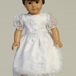 Floral Organza First Communion Doll Dress with Cap Sleeves