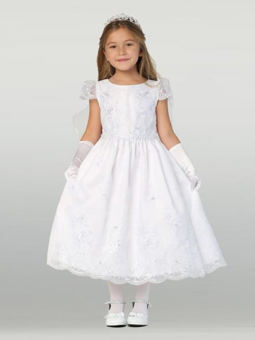 Floral Organza First Communion Dress with Cap Sleeves