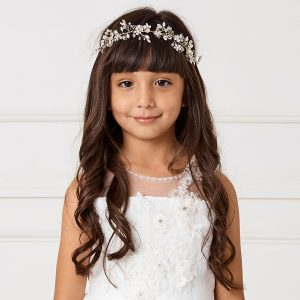 Floral Silver First Communion Spray Hairband