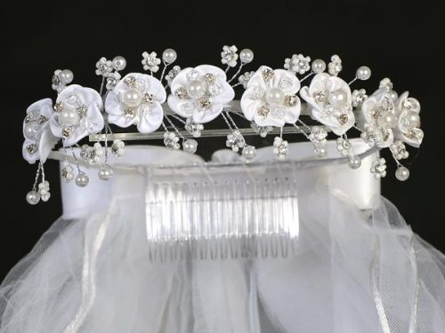 First Communion Veil Satin Flowers and Pearls