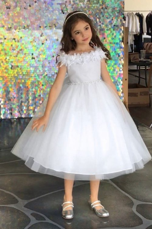 Flower Trim Tulle First Communion Dress