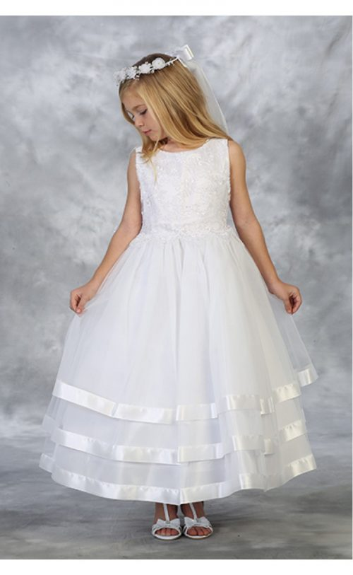 White First Communion Dress with Layered Skirt Satin Trim