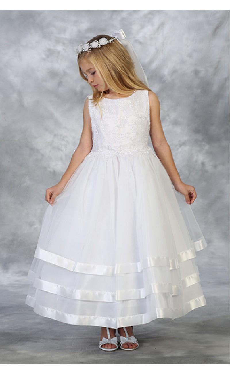White First Communion Dress with Layered Skirt Satin Trim