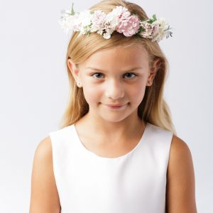 Girls First Communion Floral Crown Wreath Headpiece with Pastel Flowers