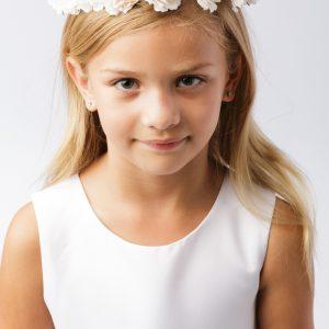 Girls First Communion Pale Blush Floral Crown Headpiece