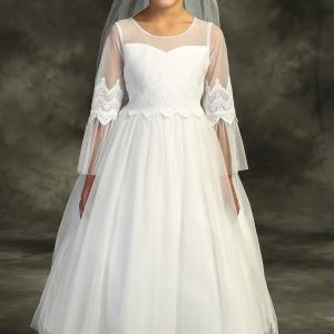Girls First Holy Communion Dress with Sleeves