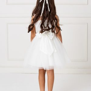 Girls Knee Length Lace and Tulle First Communion Dress