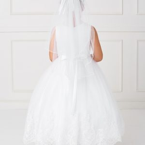 Girls Lace First Communion Dress with Mesh