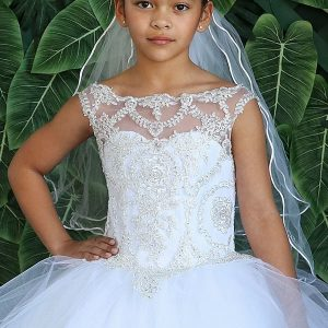 Girls Long Length First Communion Gown with Layered Organza Skirt and Beaded Bodice
