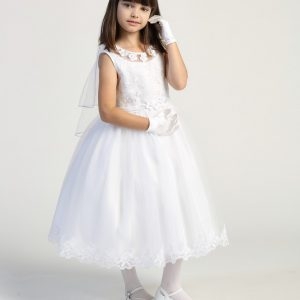 Girls first communion dress Embroidered tulle bodice with flower appliques