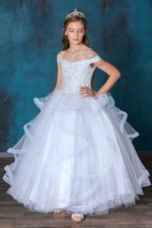 Glitter Pattern on Skirt First Communion Ball Gown