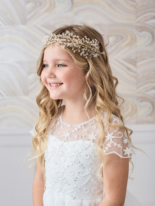 Beaded Wire First Communion Headpiece with Satin Tie Back