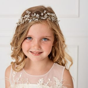Gold Floral First Communion Spray Hairband