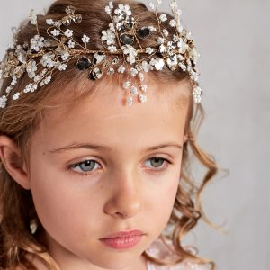 Gold Pearl Crystals Spray First Communion Hairpiece
