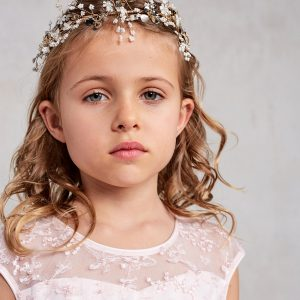 Gold Pearl Spray First Communion Hairpiece