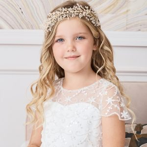 Gold Spray First Communion Hairband