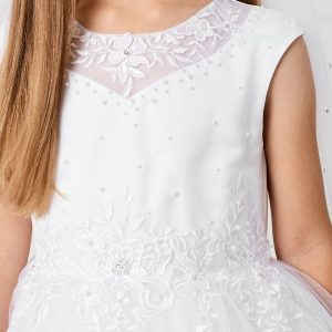 Gorgeous First Communion Dress with Lace Satin and Tulle Bodice