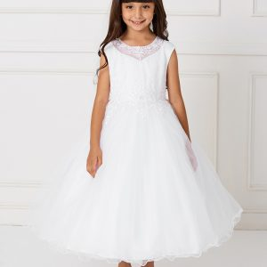 Gorgeous First Holy Communion Dress with Lace Satin and Tulle