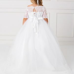 Gorgeous Floor Length First Communion Dress with Lace Sleeves