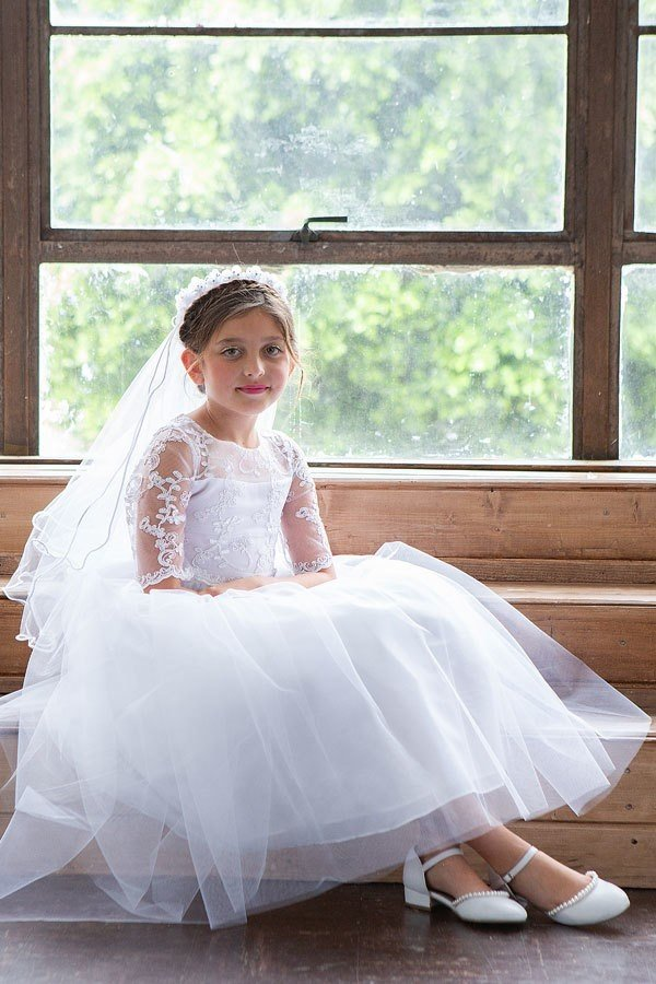 Gorgeous Lace Top with sleeves Full Length First Communion Dress