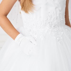 Gorgeous White First Communion Dress with Lace Satin Bodice