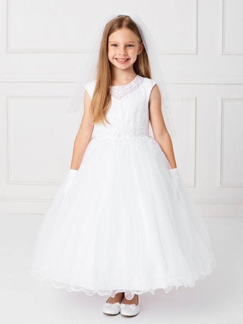 Holy Communion Dress Satin Bodice with Illusion Neckline and Lace Applique