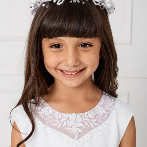 Gorgeous White First Communion Dress with Lace Satin and Tulle Top