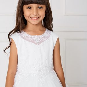 Gorgeous White First Holy Communion Dress with Lace Satin and Tulle
